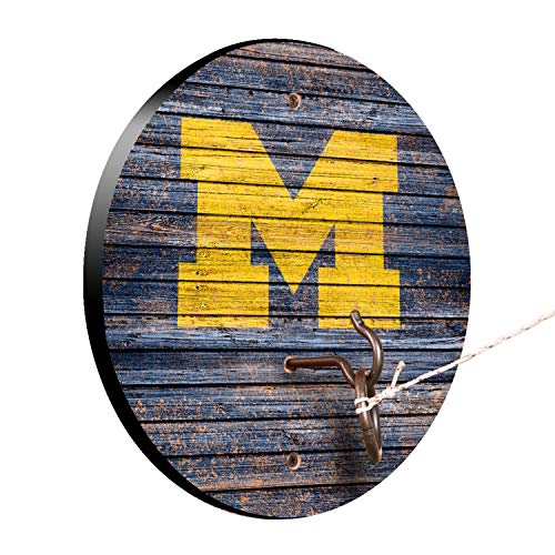 Victory Tailgate NCAA Hook and Ring Toss - Weathered Design - Michigan Wolverines