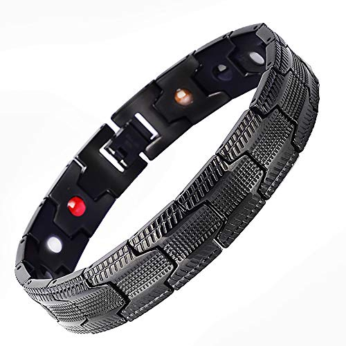 smzzz Gebrauchsmöbel Magnetarmband New Titanium Steel Bracelet Großhandel European Trend Black Negative Ion Magnetic Bracelet Herren Edelstahl