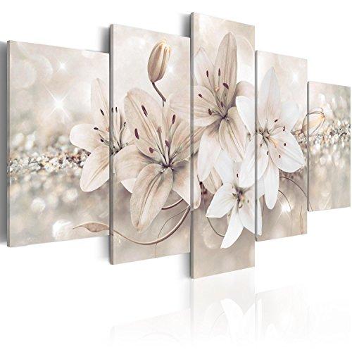 murando Cuadro en Lienzo 200x100 cm Flores Impresión de 5 Piezas Material Tejido no Tejido Impresión Artística Imagen Gráfica Decoracion de Pared b-A-0297-b-n