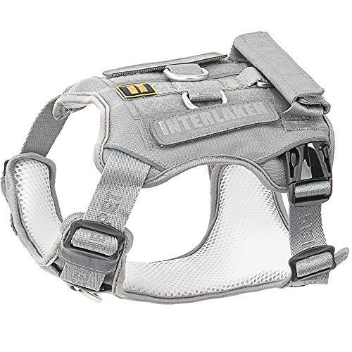 Dog Harness, No-Pull Pet Harness, Adjustable Eva Padded Dog Vest, Reflective No-Choke Pet Velcro Patch Vest with Easy Control Handle (S, Light Grey)