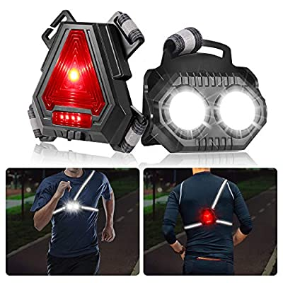 Night Running Lights for Runners,B-right,LED Chest Lights U SB Rechargeable Battery,Reflective Running Gear,90°Adjustable for Jogging,Dog Walking,Camping,Hiking