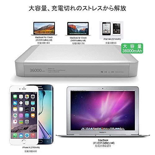 ノートパソコンモバイルバッテリーMAXOAK36000mAh超大容量MacBook/MacBookPro/Air/iPhone/iPad対応