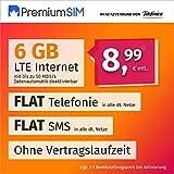PremiumSIM Teléfono móvil LTE L – sin Tiempo de Contrato, (Flat Internet 6 GB LTE con máx. 50 Mbit/s con Datos automáticos desactivables, telefonía Flat, SMS y Extranjero de la UE 8,99 Euros/Mes)