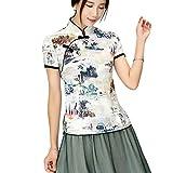 YueLian Stile Cinese Cheongsam Top Camicia retrò a Maniche Corte(Blu, China M=IT 42)