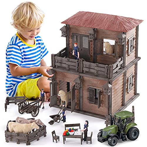 Lucky Doug Farm Animal House Toys Playset for Kids Toddlers Ages 3-8  187 PCS Farm Building Toys Farmhouse Figures Pretend Play Set with 4 Animals  4 Figures  A Tractor  11  L x11 W x 14  H