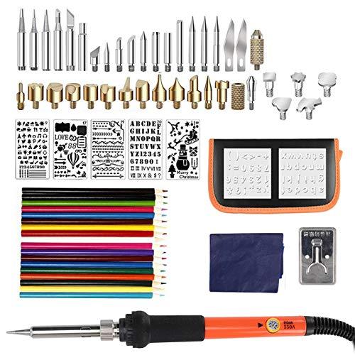 Houtverbrandingsset, pyrografiepotlood soldeerbout houtgereedschap houten gereedschap snijreliëf soldeerpunten soldeerboutkit (EU 220V)