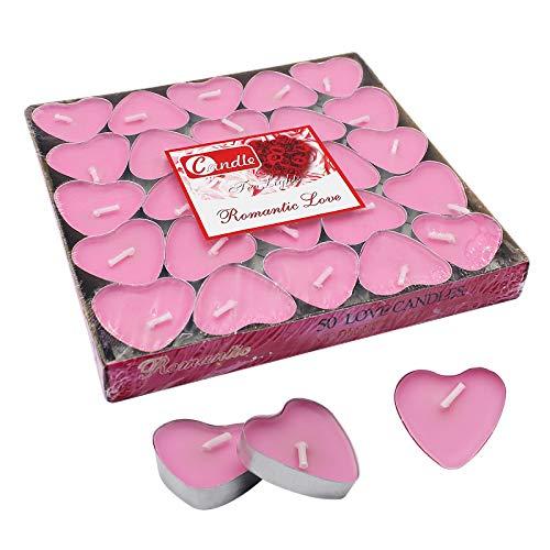 Mostop - Candele da tè a forma di cuore rosa, 2 ore, 2 ore, confezione da 50 pezzi