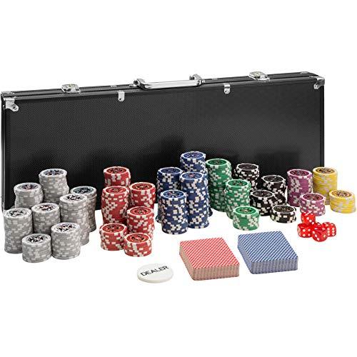 TecTake 402560 Mallette de Poker avec Laser Jetons, 500 Pièces, Coffret de Poker en Aluminium | INCL. 5 Dés + 2 Jeux de Cartes + 1 Bouton Dealer, Noir