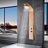 Magnus Home Products Limerick Pressure Balance Bamboo Shower Panel w/Hand Shower, 8 2/3' L x 17 3/4' W, 106.0 lb