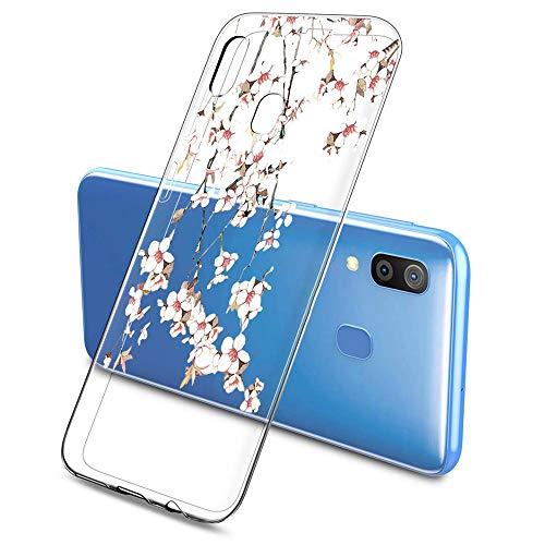 Suhctup Coque Compatible pour Samsung Galaxy A20E,Etui en Silicone Transparent TPU Souple Housse Ultra Fin Anti Choc Protection Bumper Case avec Fleur Dessin pour Samsung Galaxy A20E(Fleur 8)