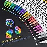 Baozun Acrylstifte Marker Stifte 24 Farben Wasserfest Acrylfarben Marker Set für Steine Scrapbooking DIY Fotoalbum Gästebuch Holz Hochzeit Schwarzes Papier Hand Lettering