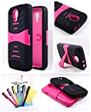 Thousand Eight(TM) For LG Volt LS740 - Heavy Duty Armor Stand Combo case / Hybrid Kickstand Case with Silicone Armor Skin + [FREE LCD Screen Protector Shield(Ultra Clear)+Touch Screen Stylus] (S pink)