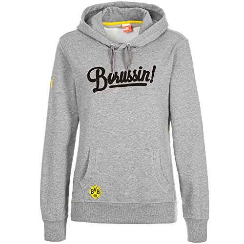 PUMA Damen Sweatshirt BVB WMS Fan Hoody, Medium Gray Heather, XXL