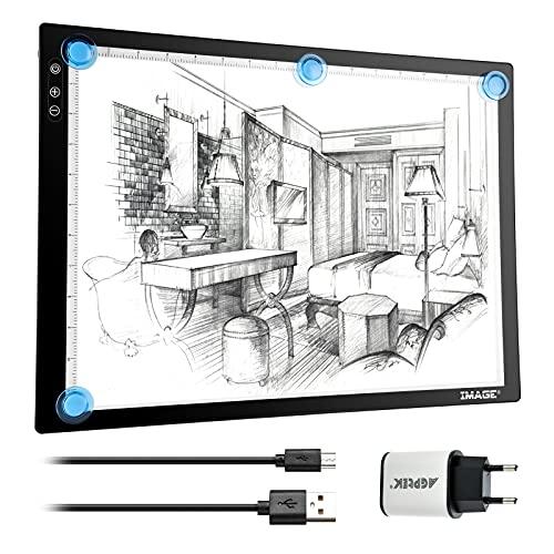 IMAGE A3 Leuchttisch LED Zeichenbrett magnetischer Leuchtkasten Light Pad Diamond Painting Lichtpad mit Drucktaste zum Zeichnen