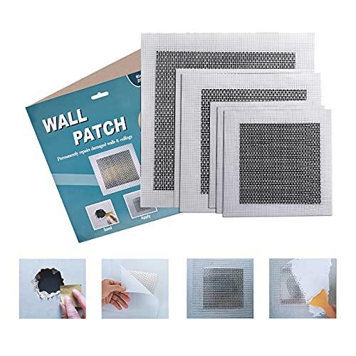 Drywall Repair Kit, 6 Pieces Aluminum Wall Patch Repair Kit, 4/6/8 Inch Fiberglass Mesh Wall Screen Repair Patches Plates, Drywall Repair Tools Kit for Ceilings Drywall Plasterboard