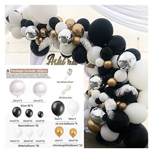 aolongwl Globo de Papel de Aluminio 102pcs Silver 4D Black Balloons Kit de Arco Metálico Globo Galloon Guirnalda Boda Fiesta de cumpleaños Decoración para niños Globos (Color : Iridescent)