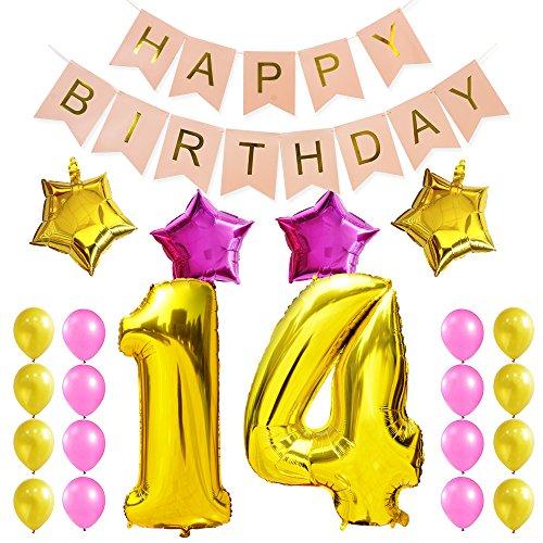 KUNGYO Zum 14. Geburtstag Party Dekorationen Satz-Rosa Happy Birthday Banner, Folienballon 14 in Gold-XXL Riesenzahl 100cm; Stern&Latex Ballon- Süße Alles Gute Zum Geburtstag für Frauen