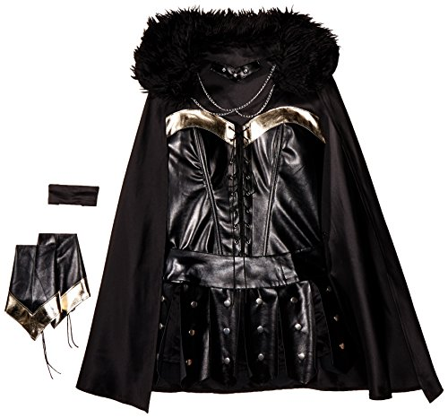 Be Wicked Costumes Women's Warrior Princess Costume, Black/Silver, Small/Medium