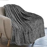 PAVILIA Luxury Flannel Fleece Blanket Throw Dark Gray   Soft Decorative Jacquard Weave Microfiber Throw for Bed Sofa Couch   Velvet Textured Leaves Pattern   Lightweight Plush Cozy Warm   50'x60'