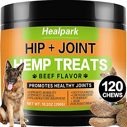 Advanced Hip and Joint Supplement for Dogs – Hemp Chew Treats with Hemp Oil, Glucosamine, Chondroitin, MSM – Glucosamine…