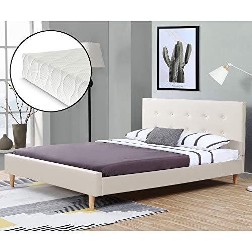 Corium Kunstlederbett mit Matratze 160x200 cm Polsterbett mit Kaltschaummatratze Doppelbett Ehebett mit Lattenrost Kopfteil Fußteil Kunstleder Weiß