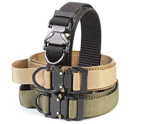 Taktisches Hundehalsband verstellbar aus Nylon für mittlere und große Hunde in Militär-Optik mit Metall-Schnalle und Kontrollgriff für das Training, Outdoor sowie im Alltag, in Schwarz und Grün