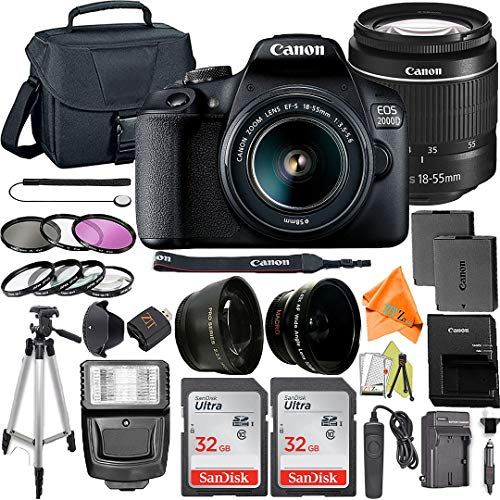 Canon EOS 2000D / Rebel T7 Digital SLR Camera 24.1MP with 18-55mm Zoom Lens + ZeeTech Accessory Bundle, 2 Pack SanDisk 32GB Memory Card, Telephoto and Wideangle Lenses, Flash, Tripod