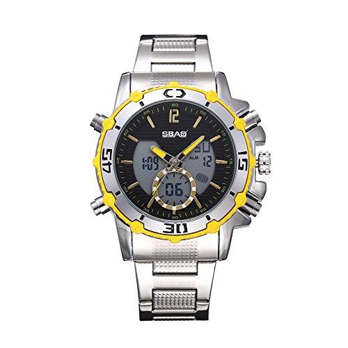 HWCOO SBAO Uhren Männer Silikon Dual-Display-Uhr Mode Stahl Herren elektronische Uhren (Color : 2)