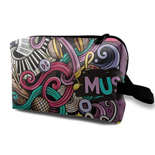 Garabatos de música Bolsa de Almacenamiento de Viaje cosmética de Gran Capacidad para Hombres y Mujeres de Colores, Bolsa de cosméticos portátil Bolsa de Almacenamiento de Accesorios