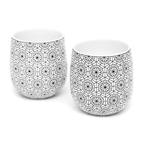 Double Walled Coffee Cups, Dobbelt Set of 2, 6 Ounce, Circle Pattern - Insulated Ceramic Mugs for Latte, Cappuccino by Kop & Hagen, best insulated reusable coffee cup