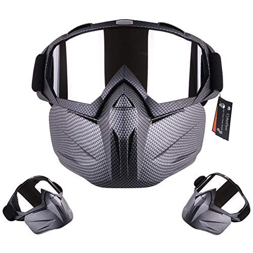 CyberDyer Motorcycle Goggles with Detachable Mask Windproof Full Face...