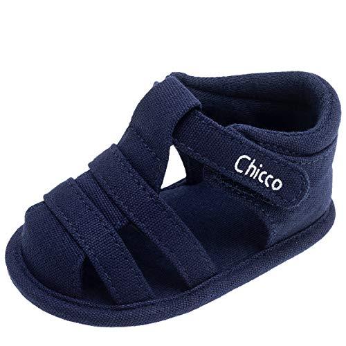 CHICCO CALZATURE Sandalo Culla Baby Boy in Puro Cotone Blu Chiusura Regolabile con Nastro a Strappo Sandalo Owes 100% Cotone Made in Cina Collezione Primavera Estate