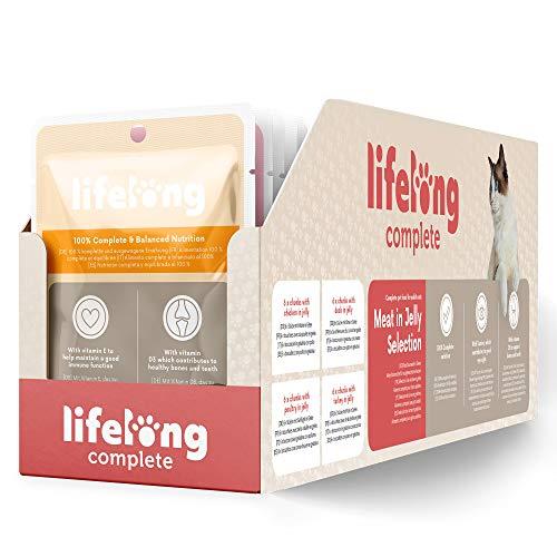 Marca Amazon - Lifelong Alimento completo para gatos adultos - Selección de carne en gelatina, 2,4 kg (24 bolsitas x 100g) ⭐