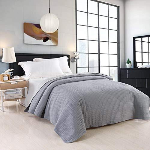 WOLTU Tagesdecke Bettüberwurf 220x240 cm Grau+Hellgrau Steppdecke Patchwork Wendedesign Kariert, Bettdecke Stepp Decke Doppelbett unterfüttert & Gesteppt