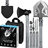 BANORES Camping Shovel Axe, Multifunctional Folding Shovel and Survival Axe 9.05-38.97 inch Lengthened Handle High Carbon Stainless Steel with Storage Pouch for Camping, Hiking, Backpacking, Emergency
