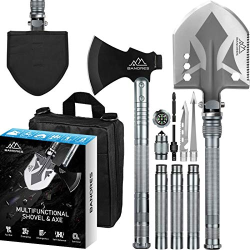 BANORES Camping Shovel Axe, Multifunctional Folding Shovel and Survival Axe 19.37-38.97inch Lengthened Handle High Carbon Stainless SteeL with Storage Pouch for Camping, Hiking, Backpacking, Emergency