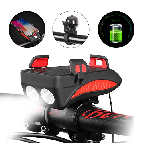 QCLTY 4 in 1 Rechargeable Bike Front Light Set - 400 Lumen Super Bright 8+ Hours Runtime, Built in 4000mA Cellphone Power Bank, Bicycle Mobile Phone Holder Mount and High 130DB Bell (Red)
