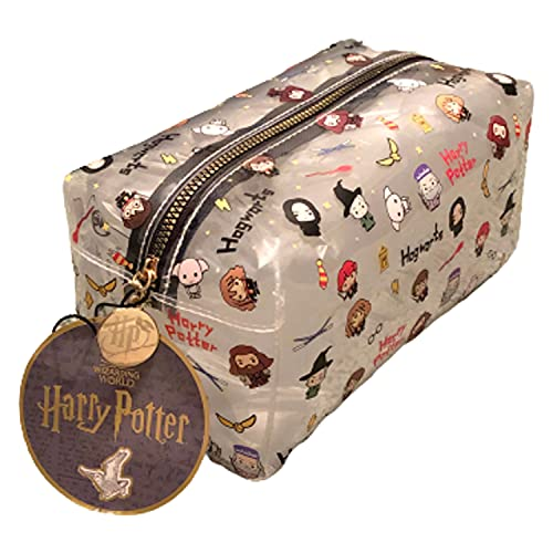 Neceser de Maquillaje HARRY POTTER Transparente - Licencia Oficial Harry Potter - Emojis Hermione, Ron, Dumbledore.