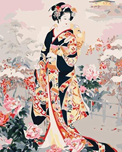 Pintura por Números, Pintura al Óleo de Bricolaje Para Niños Principiantes, Lienzo Preimpreso de con Pinceles y Pigmento Acrílico(Cuadro Doncella Japonesa)40X50 cm-Sin Marco