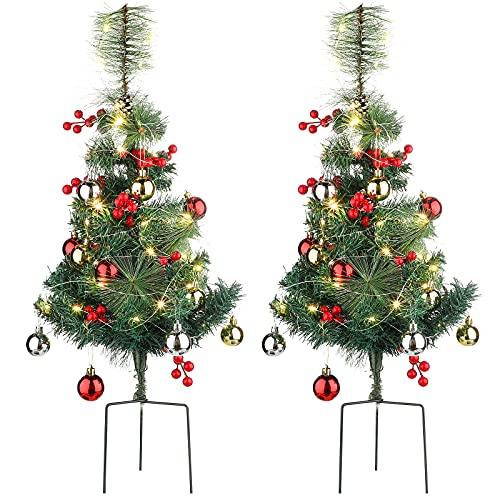 2 Piezas Decoraciones Navideñas al Aire Libre Árbol de Navidad Artificial Mini Árboles de Vacaciones Árbol de Navidad de Ruta con Luces LED y Accesorios Decorativos Pequeños