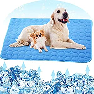 BATTILO HOME Pet Cooling Summer Pad Ice Silk Mat for Dog Cat Blanket Breathable