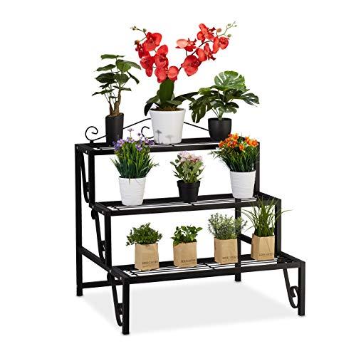 Relaxdays Blumentreppe Metall, 3 Stufen, Outdoor und Indoor, Pflanzentreppe mit Verzierung, HBT 69 x 70 x 60 cm, schwarz