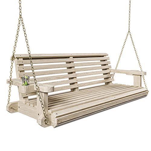 Porchgate Amish Heavy Duty 800 Lb Roll Comfort tratado porche Swing W/cadenas (4 pies, sin terminar)