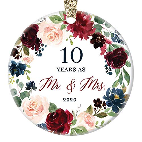 Lplpol 10th Wedding Anniversary 2020 Christmas Ornament Gift 10 Years Together Husband & Wife Tenth Year Married Couple Tree Decoration, 3 Inch Round Ceramic Christmas Tree Hanging Ornament, RE206