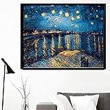 El artista impresionista Van Gogh Raleigh River Starry Canvas Wall Art Canvas Painting para la sala de estar Decor40x60cm