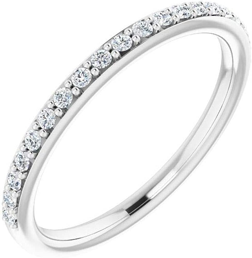 Solid Platinum 1/6 Cttw Diamond Ring Band (Width = 1.9mm)