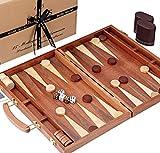 Jaques of London Juego de Backgammon - 15 Pulgadas - Caoba de Lujo