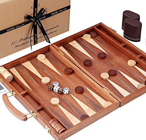 Jaques of London Backgammon Set - 15 Zoll Mahagoni