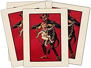 Krampus Carrying Child By the Ears -Pack of four holiday cards with envelopes