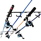 YYST Overhead Ceiling Fishing Rod Rack Fishing Rod Storage Holder - No Fishing Pole - Black (2)